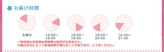 お届け時間 午前中/14:00~16:00/16:00~18:00/18:00~20:00/20:00~21:00 一部地域のお客様は時間帯の指定が出来ません。交通の状況によって配達時間が遅れることがあります。ご了承ください。
