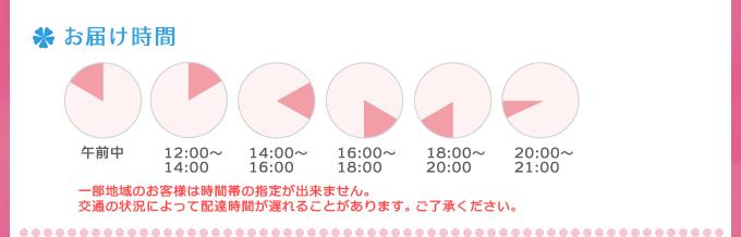 お届け時間 午前中/12:00~14:00/14:00~16:00/16:00~18:00/18:00~20:00/20:00~21:00 一部地域のお客様は時間帯の指定が出来ません。交通の状況によって配達時間が遅れることがあります。ご了承ください。